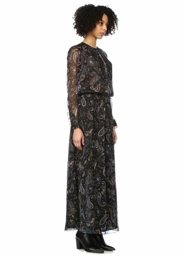 Zadig&Voltaire Şal Desenli Uzun Tül Elbise Siyah